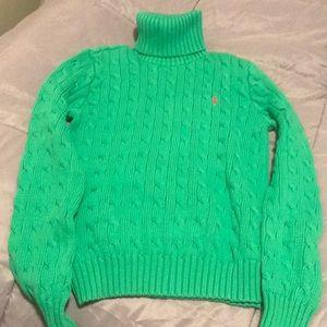 Green Ralph Lauren sport turtleneck sweater